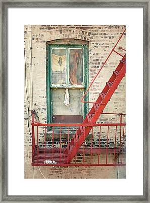 Window And Red Fire Escape Framed Print by Gary Heller