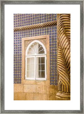 Window And Tiled Wall Pena National Palace Framed Print by Julie Palencia