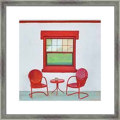 Window - Chairs - Table Framed Print by Nikolyn McDonald