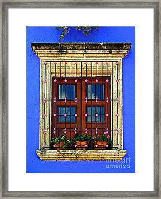 Window In Blue With Baubles Framed Print by Mexicolors Art Photography