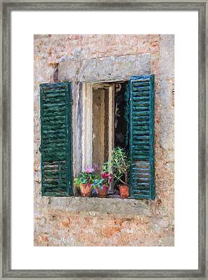 Window Of Cortona Framed Print by David Letts