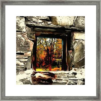 Window Of Hope - Stone Wall Window View Framed Print by Janine Riley