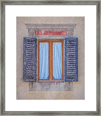 Window Sketch Of Tuscany Framed Print by David Letts