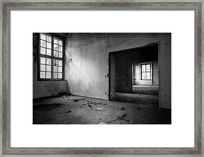 Window To Window - Abandoned School Building Bw Framed Print by Dirk Ercken