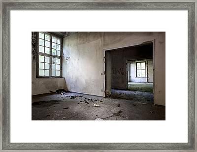 Window To Window - Abandoned School Framed Print by Dirk Ercken