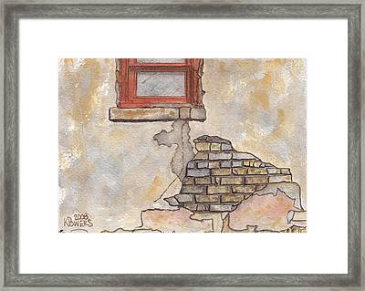 Window With Crumbling Plaster Framed Print by Ken Powers