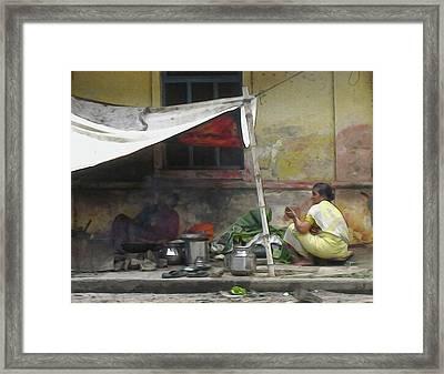 Windows Of Pondicherry 13 - Street Food Framed Print by Geckojoy Gecko Books