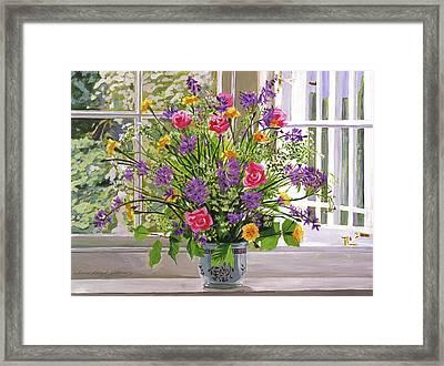 Windowsill Bouquet Framed Print by David Lloyd Glover