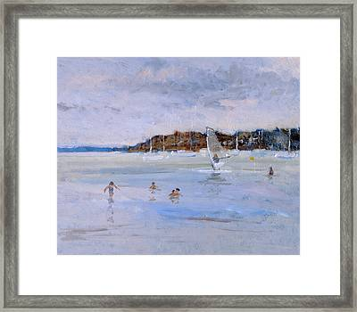 Windsurfer And Bathers Framed Print by Christopher Glanville