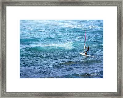 Windsurfer In Maui Hawaii Framed Print by Diane Diederich