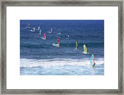 Windsurfing In Maui Hawaii Framed Print by Diane Diederich
