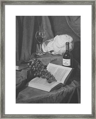 Wine And A Book Framed Print by Michael Malta