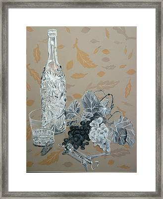 Wine And Grapes Framed Print by Nicholas Nguyen