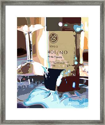 Wine And Two Glasses Framed Print by David Lloyd Glover