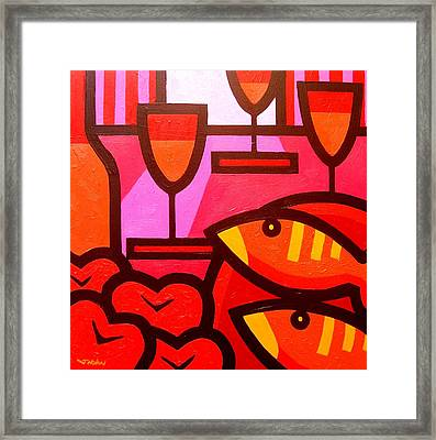 Wine Apples Fish Framed Print by John  Nolan