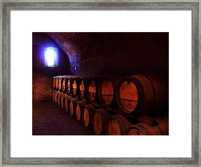 Wine Barrels In Napa Framed Print by Brian M Lumley