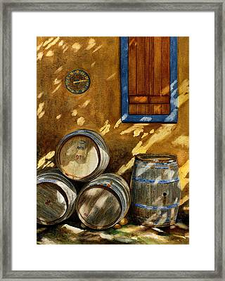 Wine Barrels Framed Print by Karen Fleschler