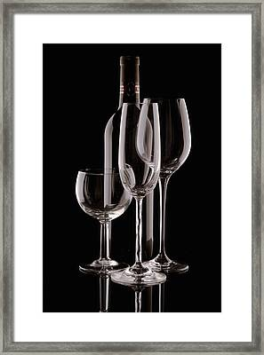 Wine Bottle And Wineglasses Silhouette Framed Print by Tom Mc Nemar