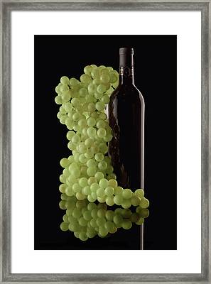 Wine Bottle With Grapes Framed Print by Tom Mc Nemar