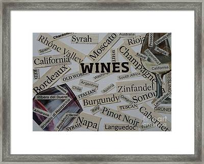 Wine Collage Framed Print by Denise Fleming