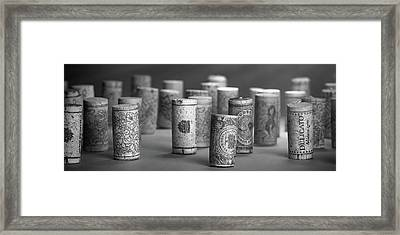 Wine Cork Panorama In Black And White Framed Print by Tom Mc Nemar
