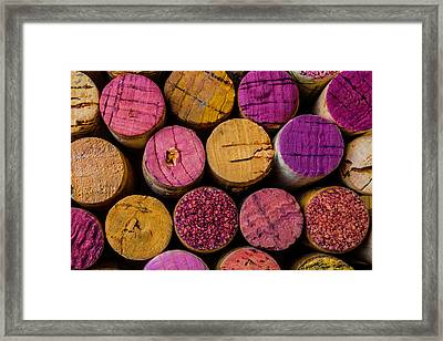 Wine Corks Close Up Framed Print by Garry Gay