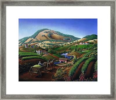 Old Wine Country Landscape - Delivering Grapes To Winery - Vintage Americana Framed Print by Walt Curlee