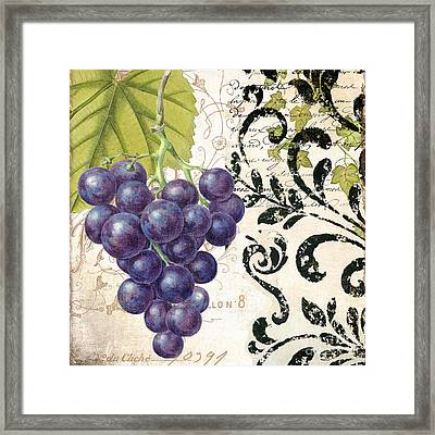 Wine Grapes And Damask Framed Print by Mindy Sommers