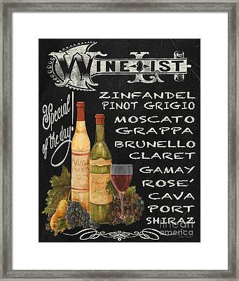 Wine List-jp3585 Framed Print by Jean Plout