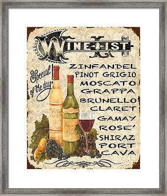 Wine List-jp3588 Framed Print by Jean Plout