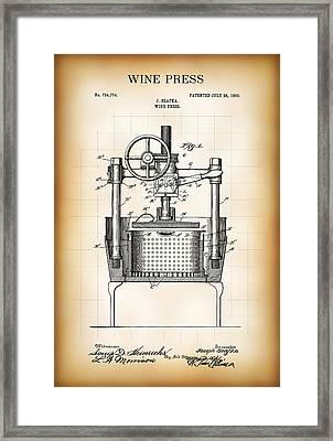 Wine Press Patent  1903 Framed Print by Daniel Hagerman