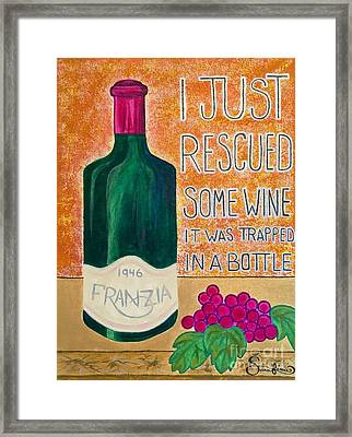 Wine Trapped In A Bottle Framed Print by Sarafina Amodt