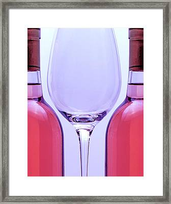 Wineglass And Bottles Framed Print by Tom Mc Nemar