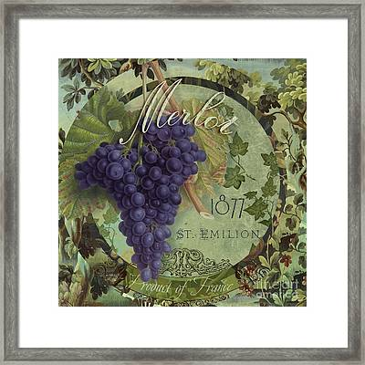 Wines Of France Merlot Framed Print by Mindy Sommers