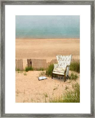 Wingback Chair At The Beach Framed Print by Jill Battaglia
