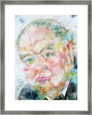 Winston Churchill - Watercolor Portrait.4 Framed Print by Fabrizio Cassetta