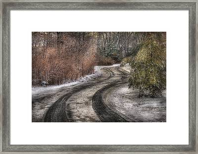 Winter - Road - The Hidden Road Framed Print by Mike Savad