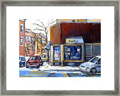 Winter At Beauty's Restaurant City Scene Landmark Paintings Montreal Memories Exceptional Canada Art Framed Print by Carole Spandau