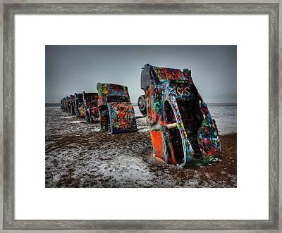 Winter At Cadillac Ranch 001 Framed Print by Lance Vaughn
