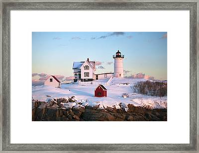 Winter At Nubble Framed Print by Eric Gendron