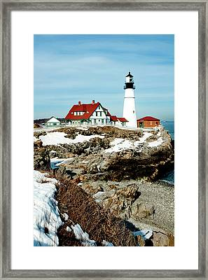 Winter At Portland Head Framed Print by Greg Fortier