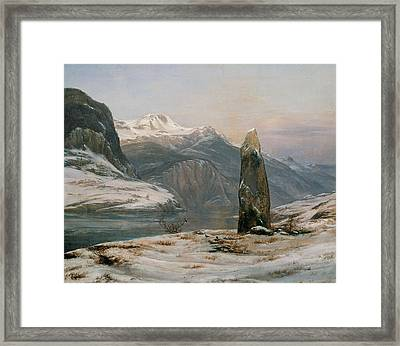 Winter At The Sognefjord Framed Print by Johan Christian Dahl