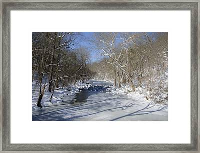 Winter At The Wissahickon Creek In Philadelphia Framed Print by Bill Cannon