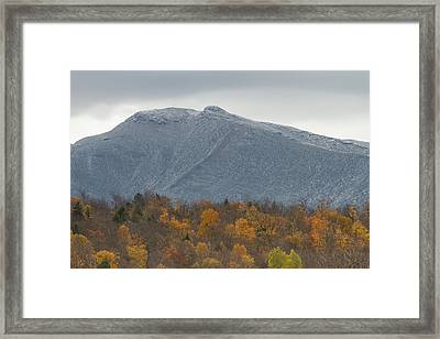 Winter Autumn Vermont Mount Mansfield Mountain Framed Print by Andy Gimino