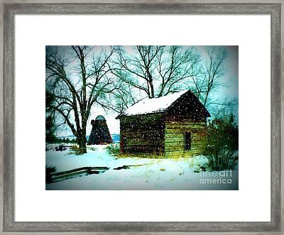 Winter Barn And Silo Framed Print by Carol Groenen