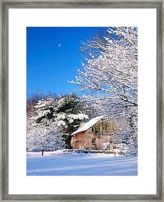 Winter Barn Scene-warren Ct Framed Print by Thomas Schoeller