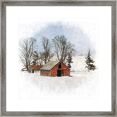 Winter Barn Framed Print by Vicki McLead