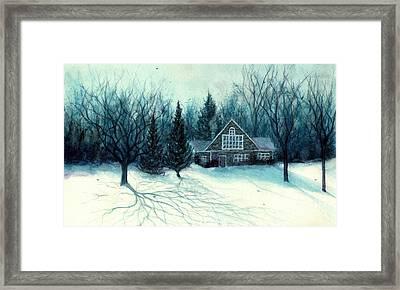 Winter Blues - Stone Chalet Cabin Framed Print by Janine Riley