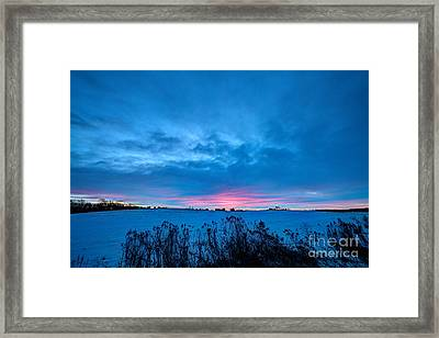 Winter Blues With A Hint Of Pink Framed Print by Wayne Moran