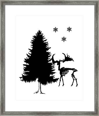 Winter Deer Skeleton Framed Print by Mordax Furittus